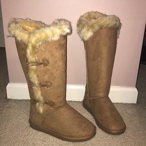 Justfab cozy tan winter boots
